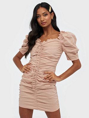 Glamorous Puffy Sleeve Rouched Dress