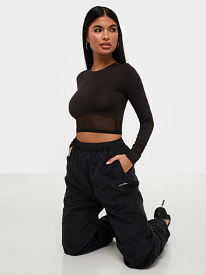 NLY Trend Mesh Detail Ls Crop Top