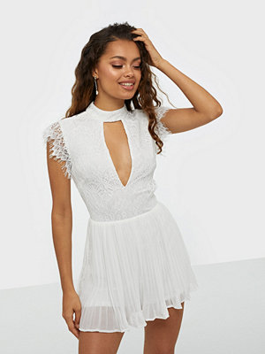 Rare London High Neck Lace Pleated Playsuit