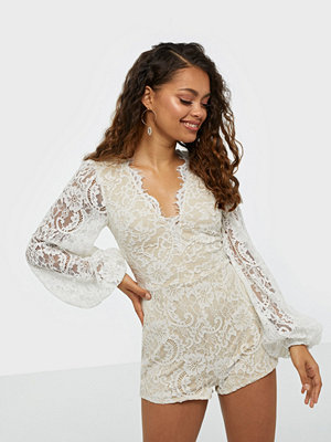 Rare London Scalloped Lace Plunge Playsuit