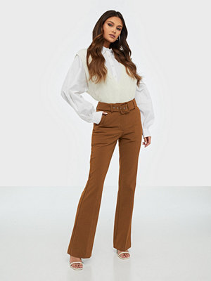 Five Units bruna byxor Clara 225 Long Belted, Brule Melange Slim, Pants