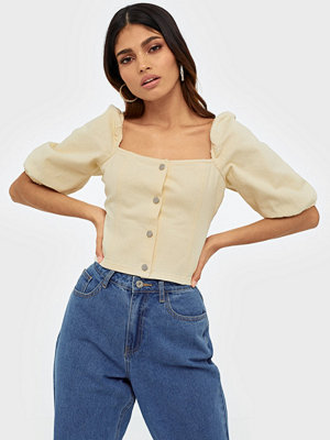 Missguided Square Neck Balloon Sleeve Denim Top