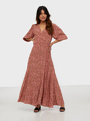 Calvin Klein Prt 3/4 Slv Wrap Maxi Dress