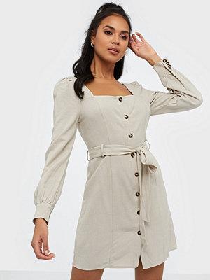Glamorous Long Sleeve Linen Button Dress