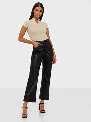 Glamorous svarta byxor PU Snake Trousers