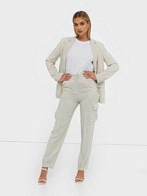NLY Trend ljusgrå byxor Linen Cargo Pants