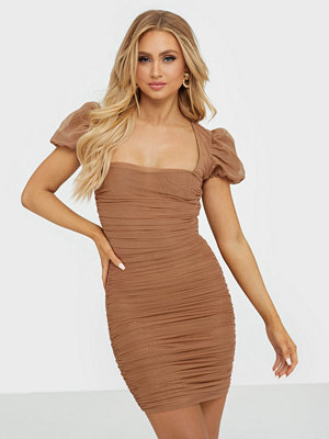 Missguided Mesh Puff Sleeve Mini Dress