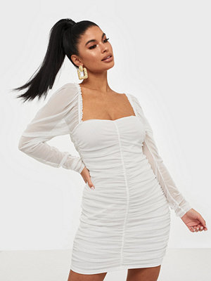 Missguided Mesh Ruched LS Mini Dress