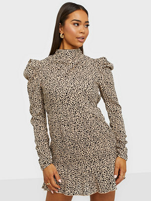 Ax Paris Puff Sleeve High Neck Dress
