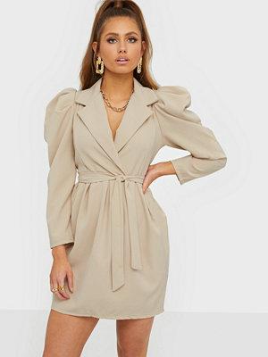 Parisian Puff Sleeve Wrap Mini Dress