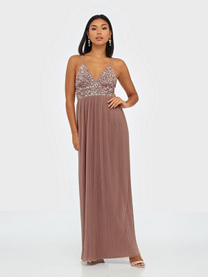 Maya Cami Plunge Delicate Sequin Pleated Dress Mauve