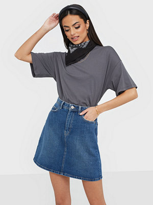 Kjolar - Pieces Pclou Hw Denim Skirt MB239-Vi