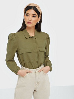 Only Onlhelen L/S Cropped Shirt Wvn