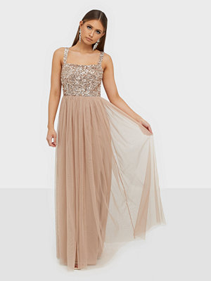 Maya Delicate Sequin Square Neck Maxi Dress