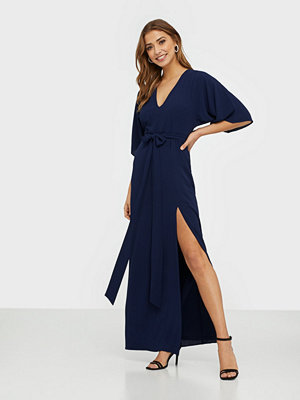 NLY Eve Tie Front Kimono Gown Navy