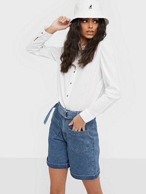 Selected Femme Slfmartha Hw Mid Blue Denim Shorts