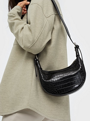 Missguided svart mönstrad axelväska Textured Detail Bag