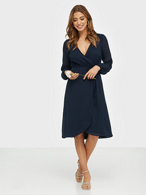 NLY Trend Wrapped Midi Dress Navy