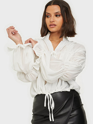 Missguided Sheer Poet Sleeve Blouse
