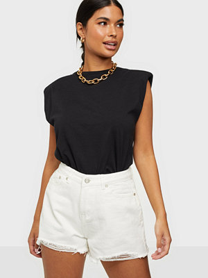 Missguided Rip Hem High Waist Shorts White