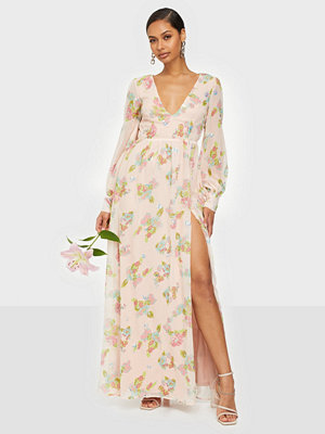 Rare London Sequin Floral Wrap Maxi Dress