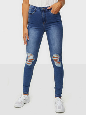 Missguided Distress Knee Cut High Waisted Jeans