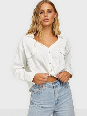 Skjortor - Missguided Tie Waist Denim Shirt