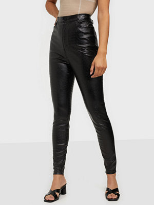 Missguided byxor Croc Leather Trousers