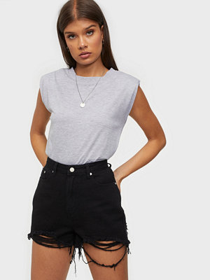 Missguided Rip Hem High Waist Shorts Black