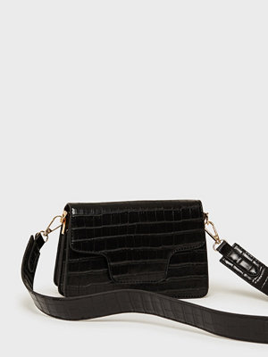 Missguided svart mönstrad axelväska Cross Body Envelope Bag