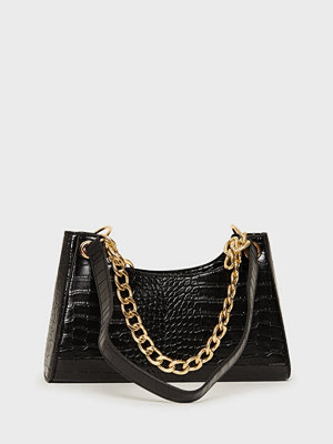 Glamorous svart mönstrad väska Chain Shoulder Bag
