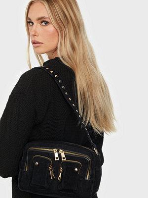 NuNoo svart väska Ellie corduroy w. gold
