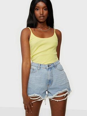 Missguided Rip Hem High Waist Shorts Light Blue