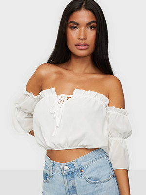 Parisian Bardot Frill Detail Crop Top