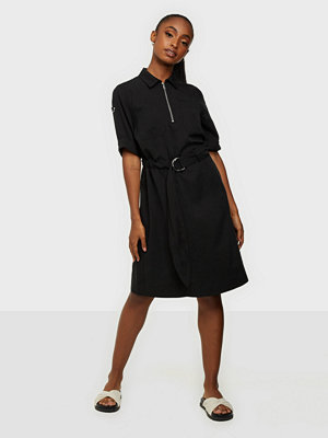 Calvin Klein Tencel 3/4 Slv Zip Up Mini Dress