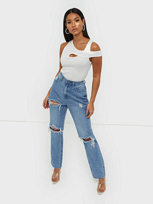 Missguided Highwaisted Rip Straight Jeans