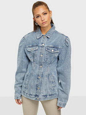 Jeansjackor - Missguided Cinched Waist Puff Sleeve Denim