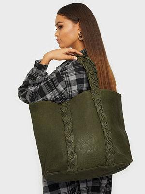 NuNoo omönstrad väska Shopper w. braiding strap