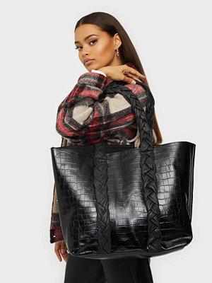NuNoo svart mönstrad väska Shopper croco