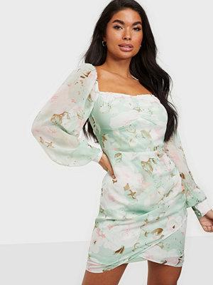 Parisian Floral Puff Sleeve Mini Dress