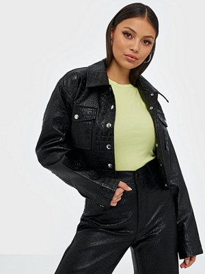 Missguided Croc PU Cropped Jacket