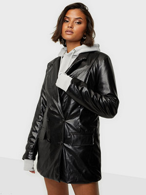 Missguided Faux Leather Oversized Blazer