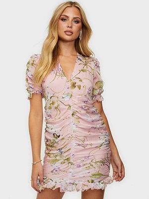 Ax Paris Short Sleeve Flower Ruched Dress