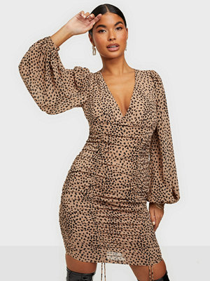 Kiss The Sky Leopard Rouche Tie Dress