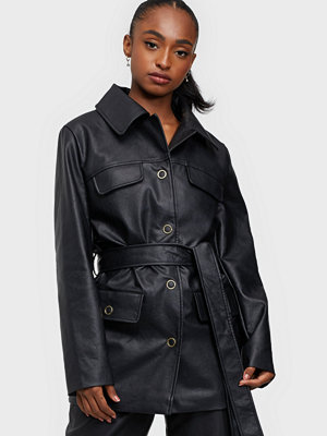 Missguided Oversized Belted PU Jacket