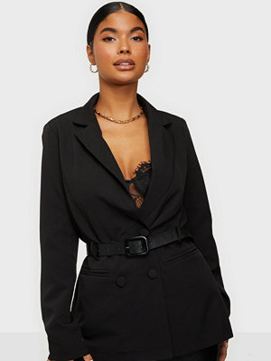 Missguided Tailored Leather Belted Blazer