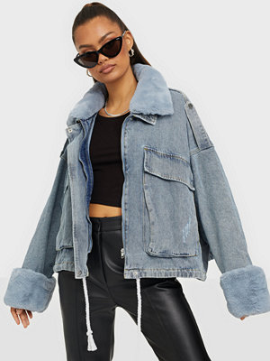 Missguided Fur Collar Denim Jacket