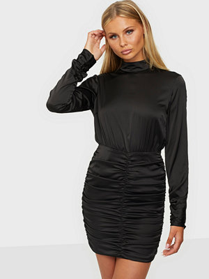NLY Trend High Neck Satin Ruche Dress