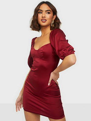 Parisian Puff Sleeve Satin Mini Dress