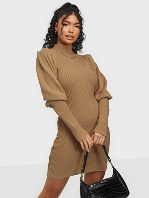 Parisian Blouson Sleeve Knitted Rib Mini Dress